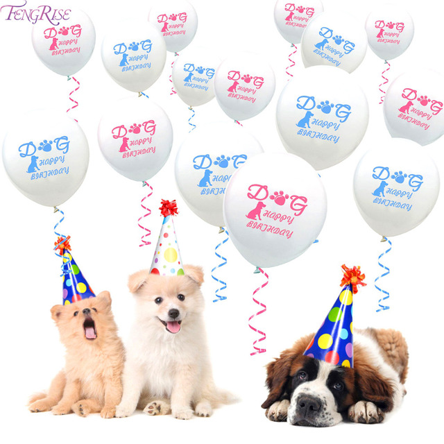 FENGRISE Pet Puppy Balloon Dog Birthday Baloons Pink Blue Toys For Dogs Supplies Accessories Decorations