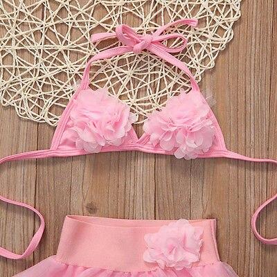Kids Girl Children Pink Swimsuit Swimwear Kostium kąpielowy Bikini - Ubrania sportowe i akcesoria - Zdjęcie 3