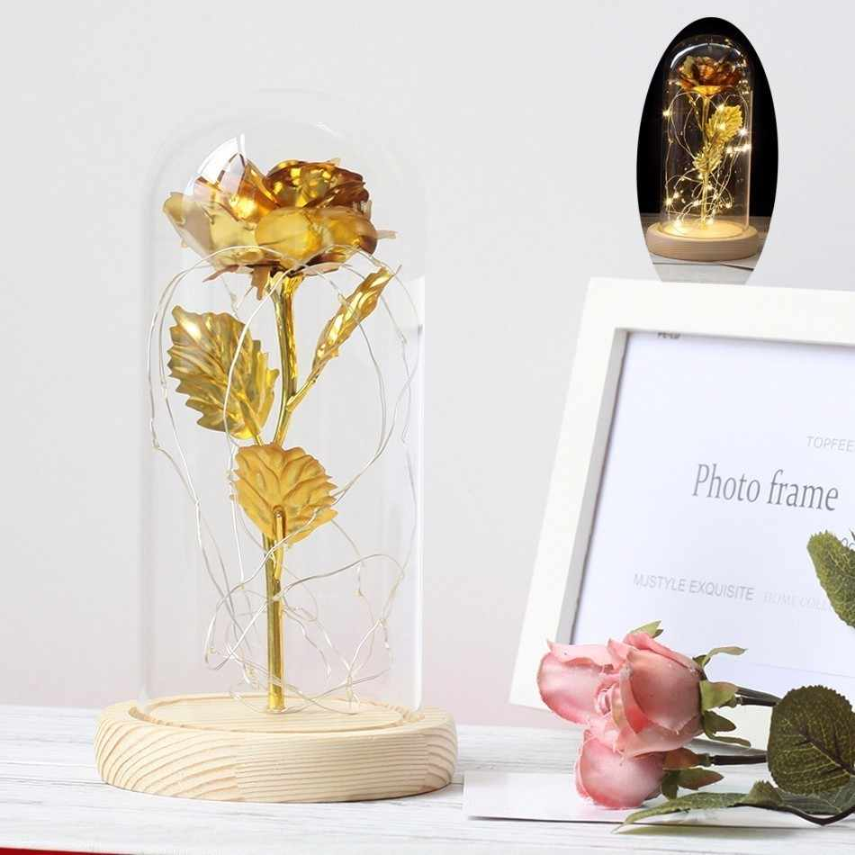 Beauty And The Beast  Platinum LED Artificial Flowers Golden Rose In Glass Dome Black Base For Mother's Day Gift