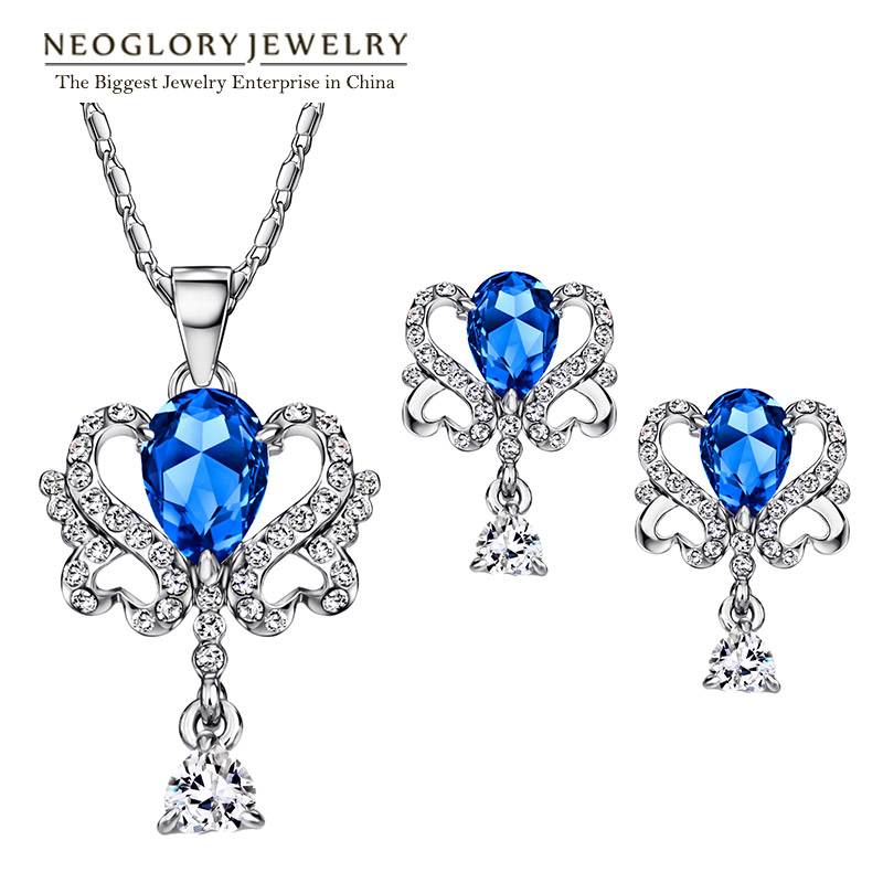 Neoglory Jewelry-Sets Earrings Necklace Crystal Birthday-Gifts Women with Blue Austrian