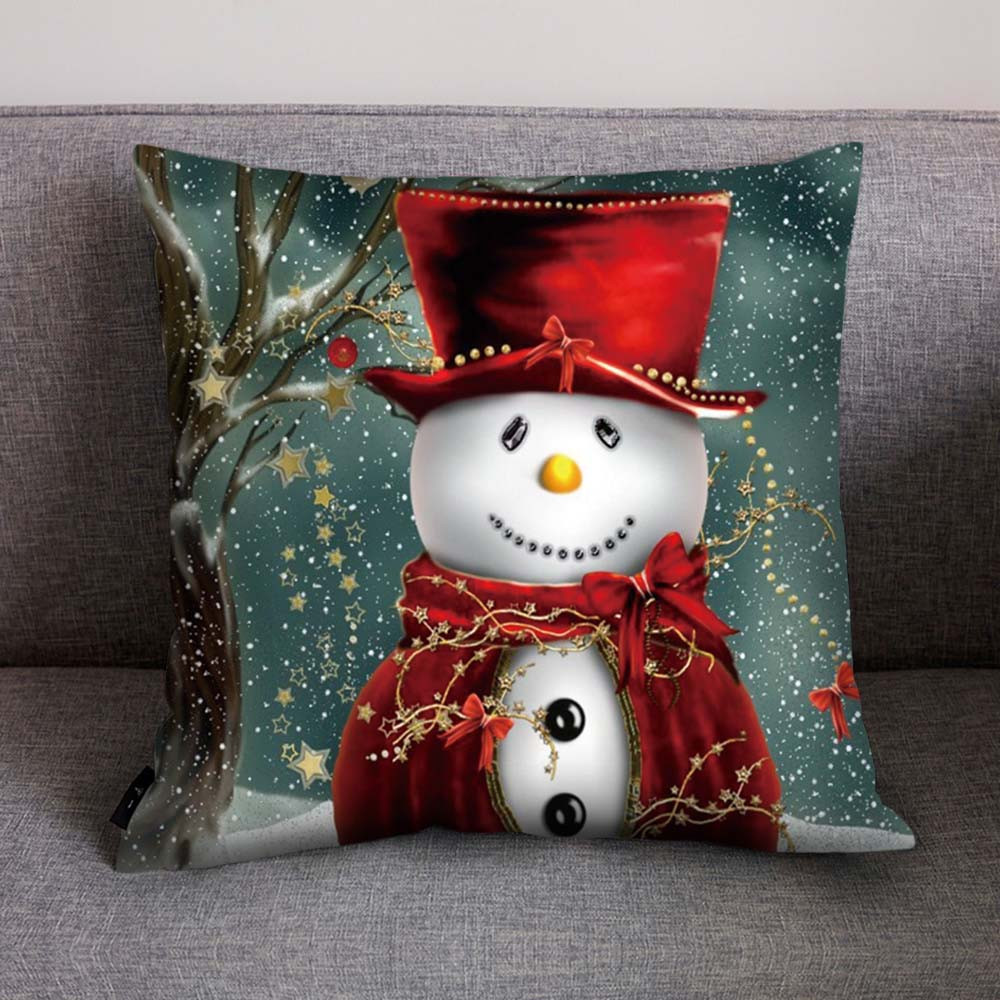 Happy New Year 2019 Party Christmas Pillow Case Snowman Christmas Pillow Cover 45x45cm New Years Eve Party Supplies Santa Claus