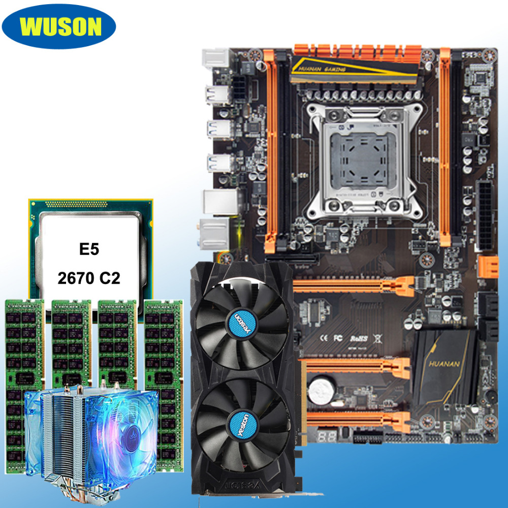 Discount mobo bundle HUANAN ZHI deluxe X79 motherboard with M.2 slot CPU Xeon <font><b>E5</b></font> <font><b>2670</b></font> <font><b>C2</b></font> RAM 32G(4*8G) video card RX460 4G DDR5 image