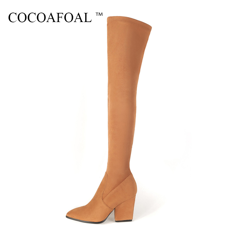 COCOAFOAL Women's Black Genuine Leather Thigh High Boots Sexy Winter Woman High Heel Shoes Pointed Toe Over The Knee Boots 2018 cocoafoal woman genuine leather ankle boots autumn winter 9 cm high heel shoes black apricot fashion sexy pointed toe boots 2018