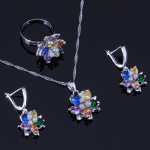 Graceful Flower Multigem Multicolor Cubic Zirconia 925 Sterling Silver Jewelry Sets For Women Earrings Pendant Chain Ring V0297A a suit of graceful multilayered beads sweater chain and earrings for women