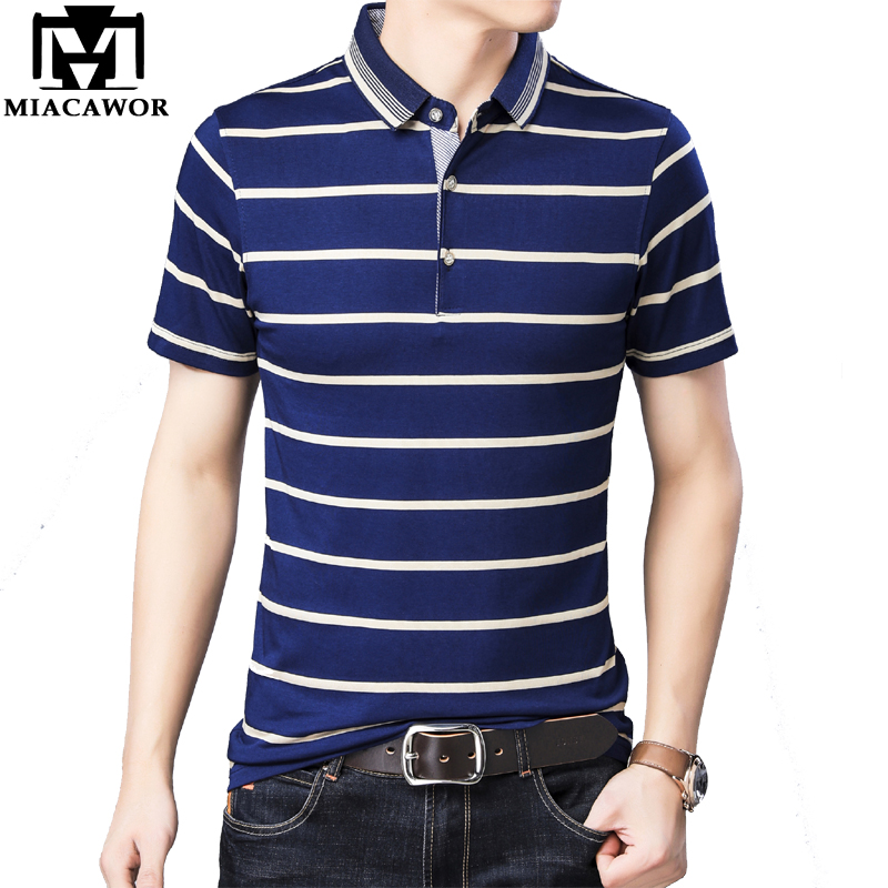 MIACAWOR New Brand   POLO     Polo   shirts Men Fashion Striped Camisa Summer Short-sleeve Casual Shirts Camiseta Hombre T731