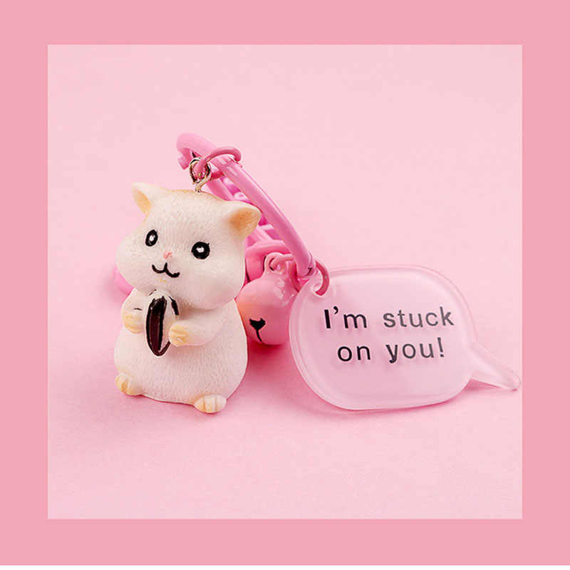 Simples dos desenhos animados Mulheres Meninas Saco Bonito Hamster Keychain Car Enfeites de Resina Chaveiro Animais Chaveiro Pingente Jóias