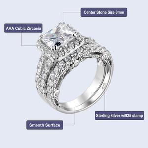 Image 4 - Newshe 2 Pcs Hochzeit Ring Set Klassische Schmuck 2,8 Ct Prinzessin Cut AAA CZ 925 Sterling Silber Engagement Ringe Für frauen JR4887