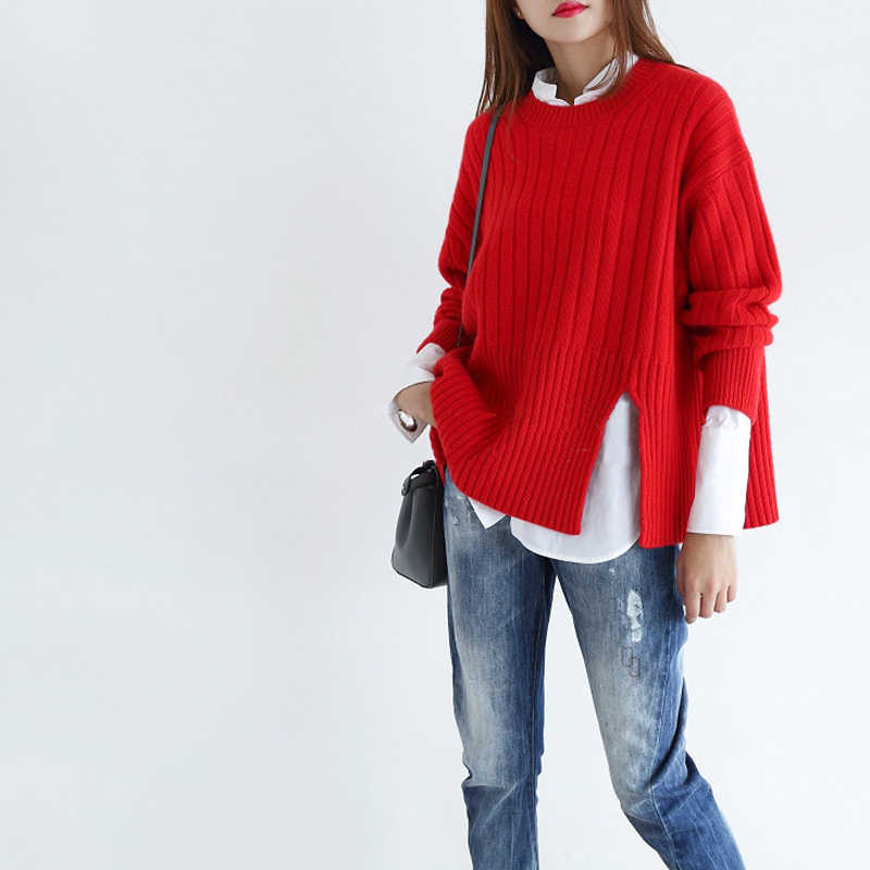 2018 autumn new women loose sweaters cashmere sweater o-neck long sleeve pullovers winter female warm thick knitting tops