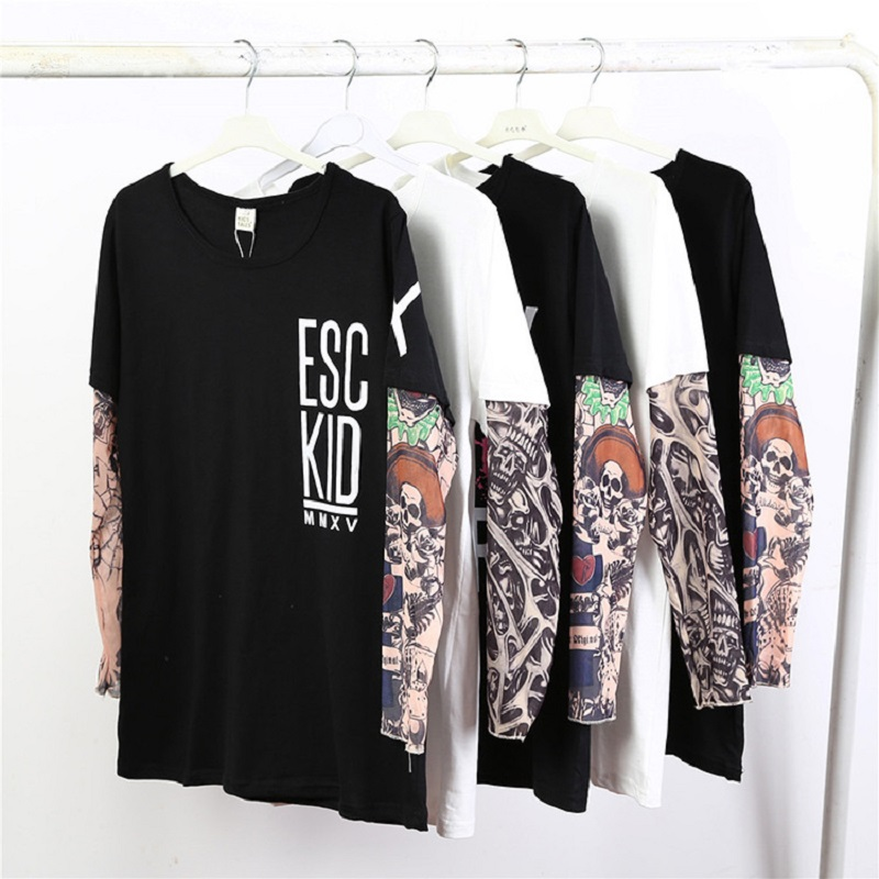 Fake Tattoo Sleeve Hip-Pop Boys T-Shirts Long Sleeve 100% Cotton Fashion Baby Boy Clothes Children Jersey 1 2 3 4 5 6 7 Year Top 6