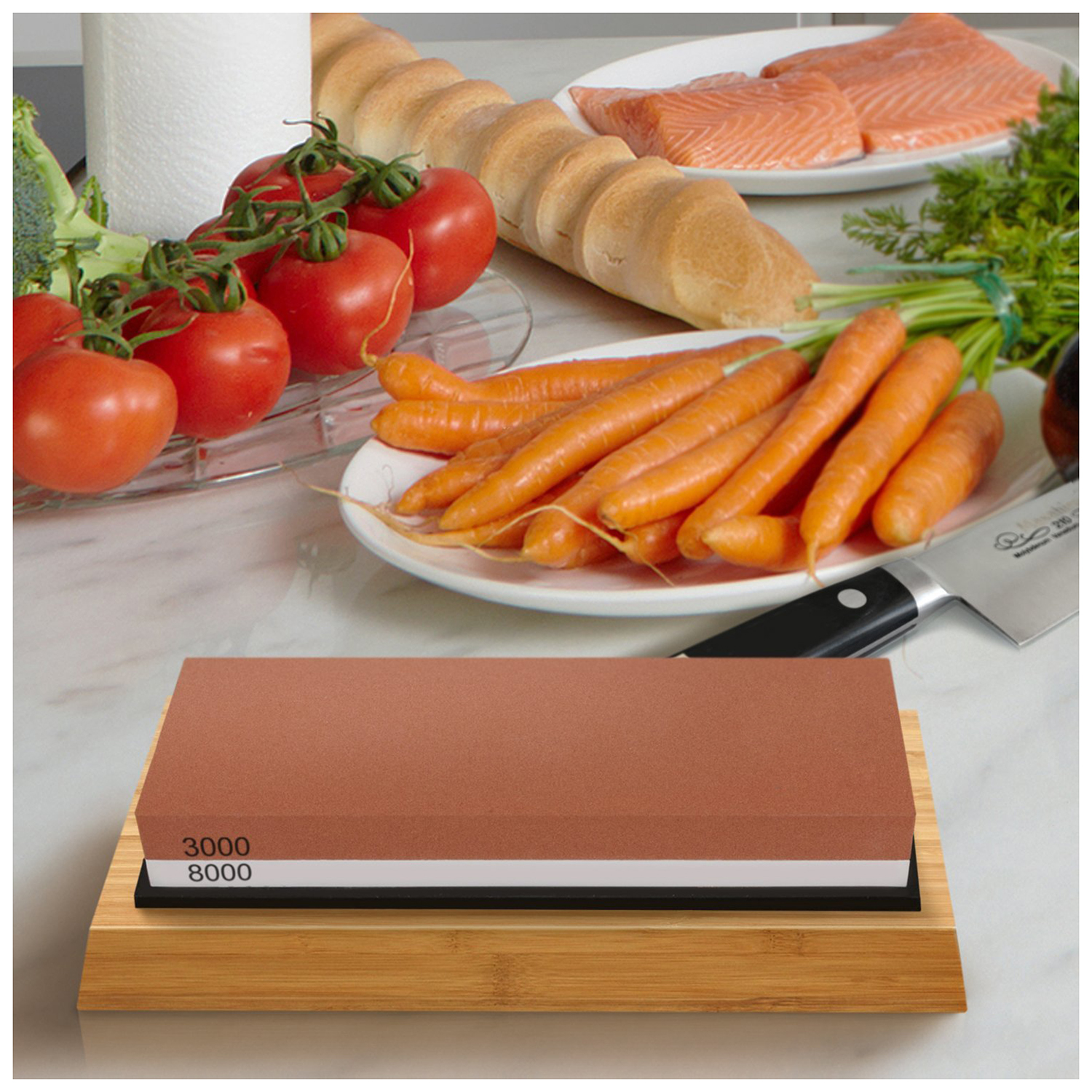 Sharpening Stone 3000 & 8000 Grit – Double Sided Whetstone Set For Knives With Non-Slip Bamboo Base and Free Angle Guide
