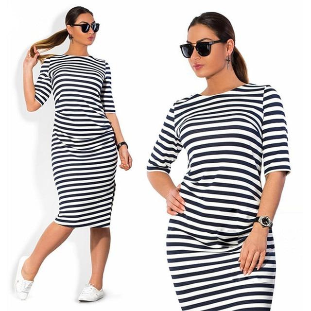 daf3ae50a0d6f US $11.99 |Women Big Size to 6XL Casual Striped Fashion Dress Summer Half  Sleeve Mid Calf Length Dresses Black & White Slim Dress M0245-in Dresses ...