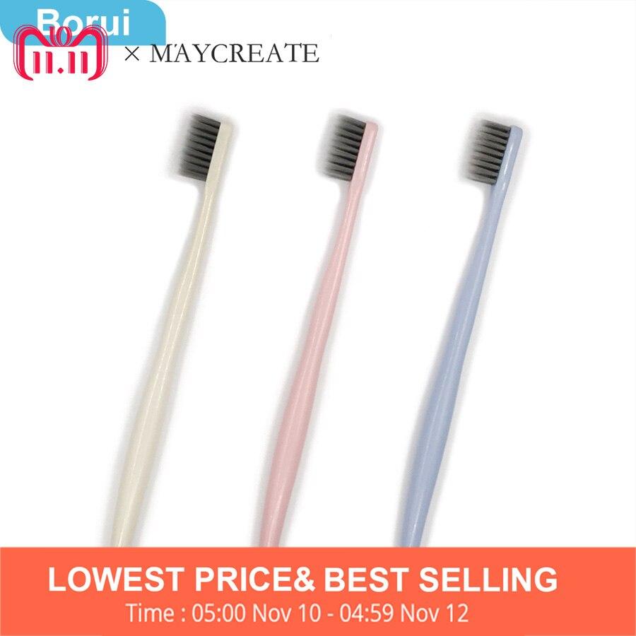 Borui Neue Mode 3 STÜCKE Ultra Weiche Zahnbürste Bambuskohle Nano Pinsel Mundpflege Zahnbürste Rosa Blau Mundhygiene