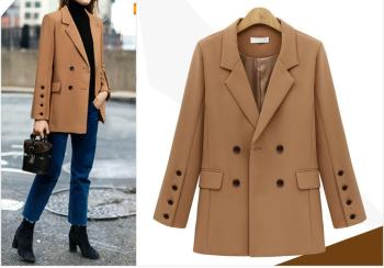 Autumn Winter Suit Blazer Women 2019 New Casual Double Breasted Pocket Women Jackets Elegant Long Sleeve Blazer Outerwear