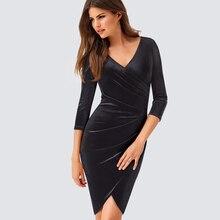 Новый Демисезонный Для женщин Sexy v-образным вырезом Ruched бархат платье элегантный Повседневное Оболочка тонкая Клубные Bodycon платье hb419