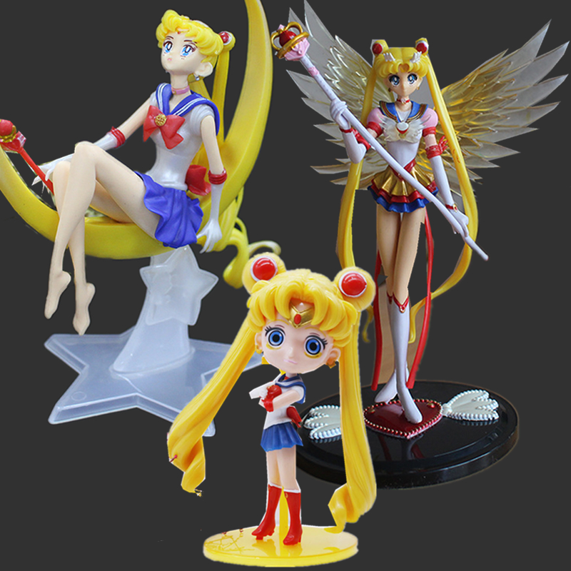 Anime Figures Sailor Moon Action Figures Sailor Moon Figure Set Wings PVC Sailor Moon Cake Toys Decoration Model Toy Doll Gifts