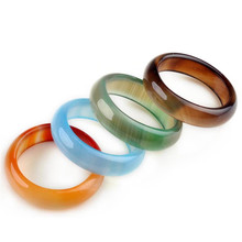 Hot Fashion 10pcs/lot Natural Agate Rings Semi-precious Stones Women Men Jewelry Bijoux Random Color Wholesale