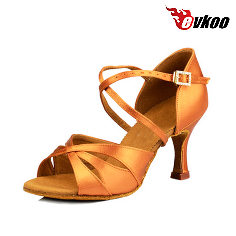 Evkoodance Skreddersydd høy hæl 6cm 7cm 8cm Tan Satin Soft Woman Girls Myk Latin Salsa Ballroom Dansesko for damer Evkoo453
