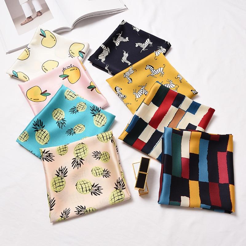 Geometric apple pineapple pattern the new hot Japanese and Korean cute simple elegant  fashionable elegant scarf headkerchief