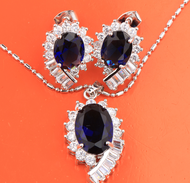 Exquisite Superb Oval Blue Hot White 925 Sterling Silver Necklace Jewelry Sets Earrings Pendant Free Shipping For Woman S8324