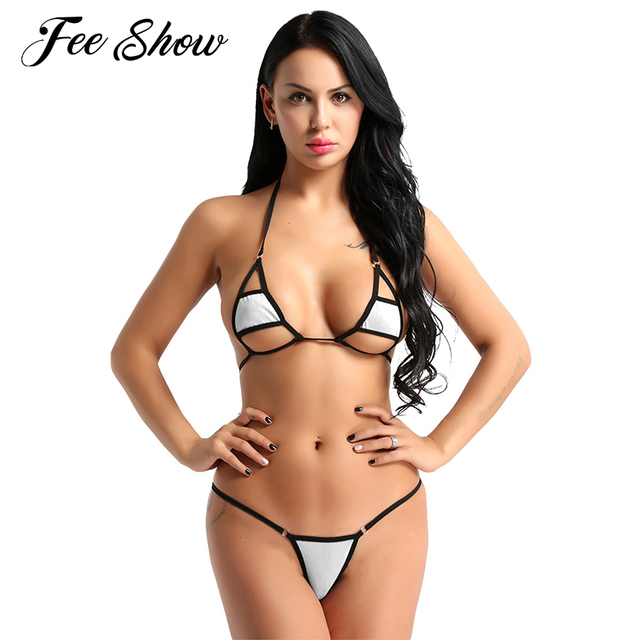 8b8b4f69e1b 2Pcs Hot Women Sexy Halter Neck Bikini Swimming Costumes Lingerie Set Micro  Bikini Bra Top with Briefs Bottoms Swimsuit Swimwear