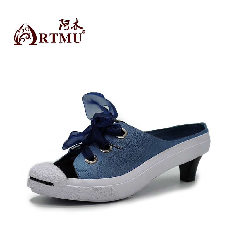 Artmu Original 2018 New Casual Slippers Ribbons Genuine Leather Handmade Women Sandals Blue 1847-5L 2018 new high end leather comfortable feet sandals classic sandals handmade leather slippers handmade leather slippers