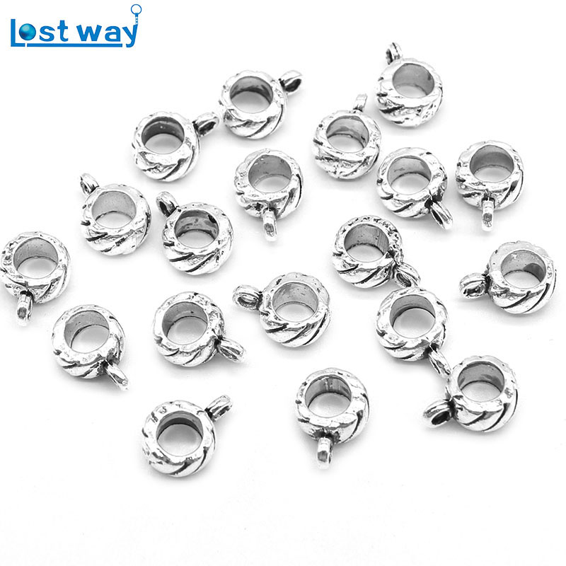 20pcs/40pcs Big Hole Beads For Jewelry Making Zinc Alloy Metal Clasps & Hooks European b ...