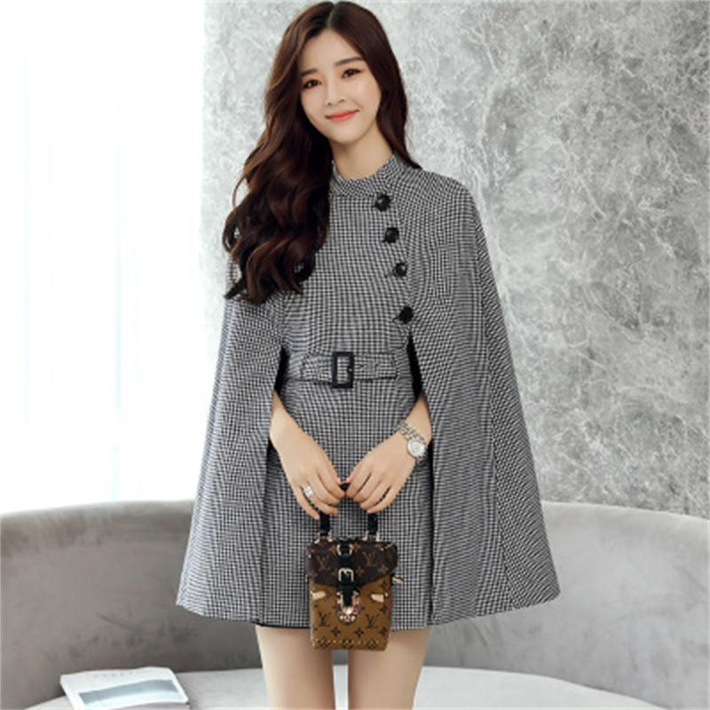 Fashion Plaid Coat Female Jacket  Autumn Women's New British Style  Cloak Woolen Jacket Fashion Cape Coat Female Casual Blazers