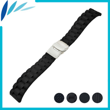 Silicone Rubber Watch Band 20mm for Samsung Gear S2 Classic R732 / R735 Stainless Steel Clasp Strap Wrist Loop Belt Bracelet stainless steel bamboo style wrist strap with butterfly clasp watch band for samsung gear s2 classic sm r732 bracelet