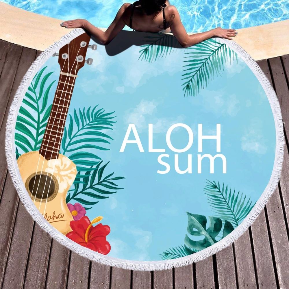 Summer Sunbath Pool Swimming Banana Palm Tree Printed Soft Large Round Microfiber Beach Towel Picnic Table Cloth Serviette Bain