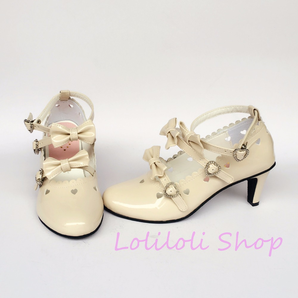 An2023 Loliloli Zapatos Dulce Princesa Encaje multiple Yoyo Beige Japonés Brillante rojo Piel Diseño Tamaño Gran De Beige Botas Lolita t1Z5w