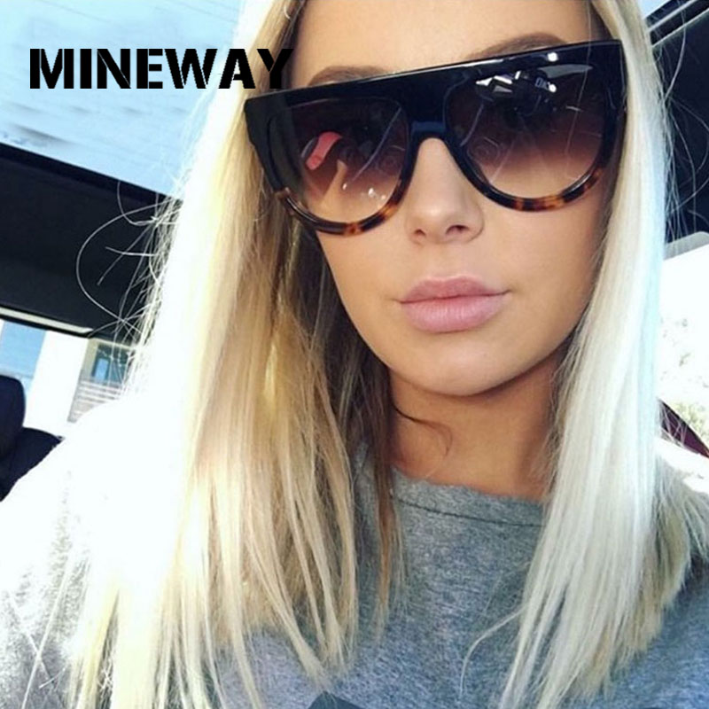 MINEWAY Retro Sunglasses Women Plastic Shades Gradient Lens Female UV400 Oversized Cat Eye Sun Glasses Women Oculos De Sol(China)