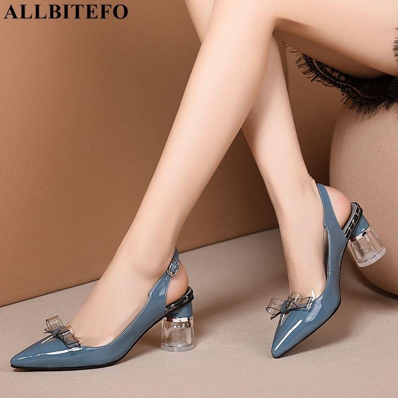 ALLBITEFO cristal talon en cuir véritable thik talon femmes chaussures nœud papillon fête femmes sandales femmes chaussures à talons hauts sandales de plage-in Sandales femme from Chaussures    2