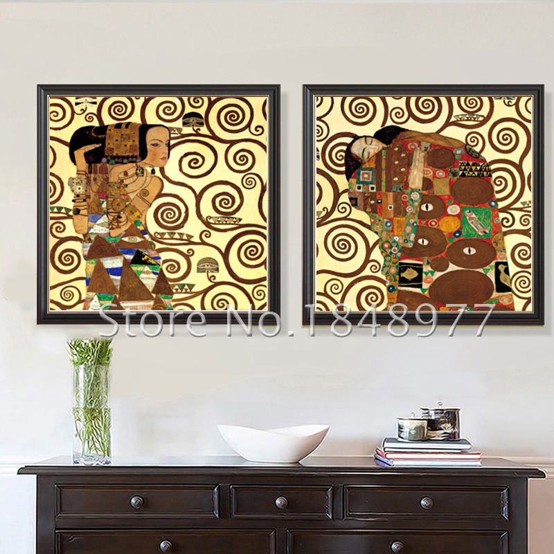 2Piece Abstract Wall Art Gustav Klimt The Kiss And