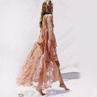 Women Lace Hollow Cover Ups Crochet Swimwear Bikini Long Sleeve Cover Up Holiday Beach Dress Sunmmer Plus Size 2XL Outwear