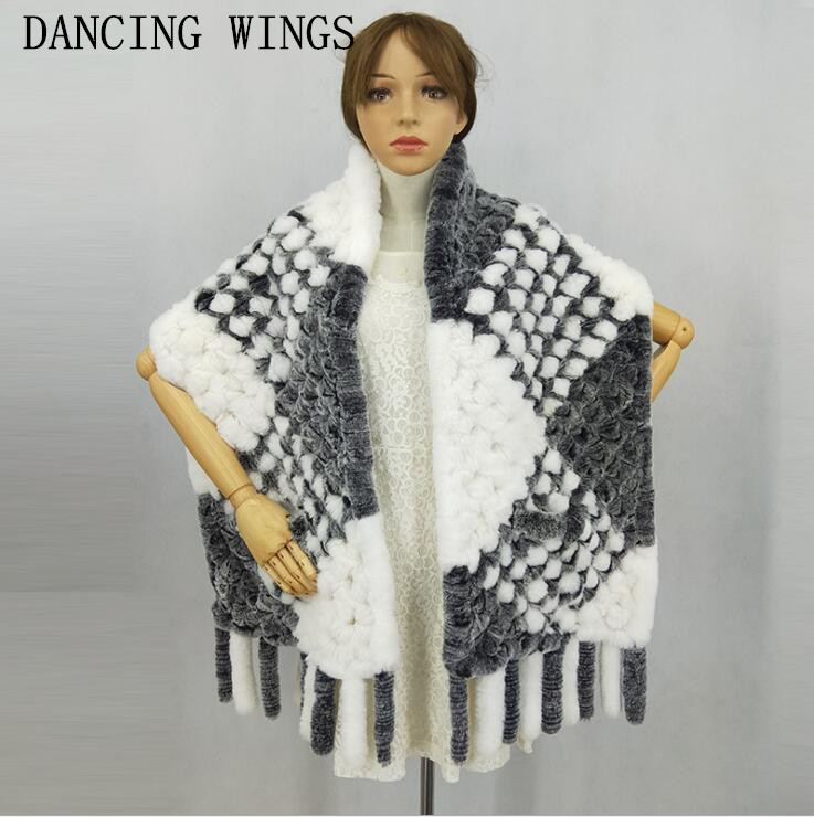 Women Geniune Real Rex Rabbit Fur Shawl With Tassels Thick Warm Scarf Autumn Winter Fur Stole