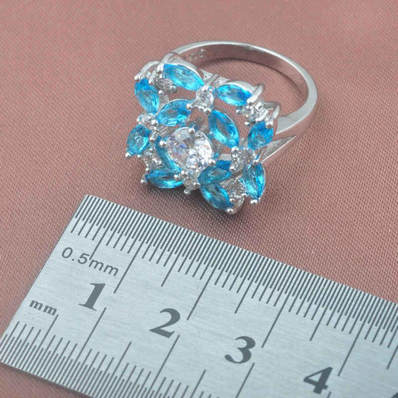 2019 ใหม่ Sky Blue Zirconia 925 เงินสเตอร์ลิงสตรีงานแต่งงานชุดเครื่องประดับสร้อยข้อมือสร้อยคอจี้ต่างหูแหวน YZ0362