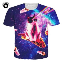 f04e2740 Laser Kitten T-Shirt Cat On Pizza Blanket Funny 3d Cat Tee Shirt Galaxy  Nebula Space T Shirt Tops For Women Men Summer Plus Size
