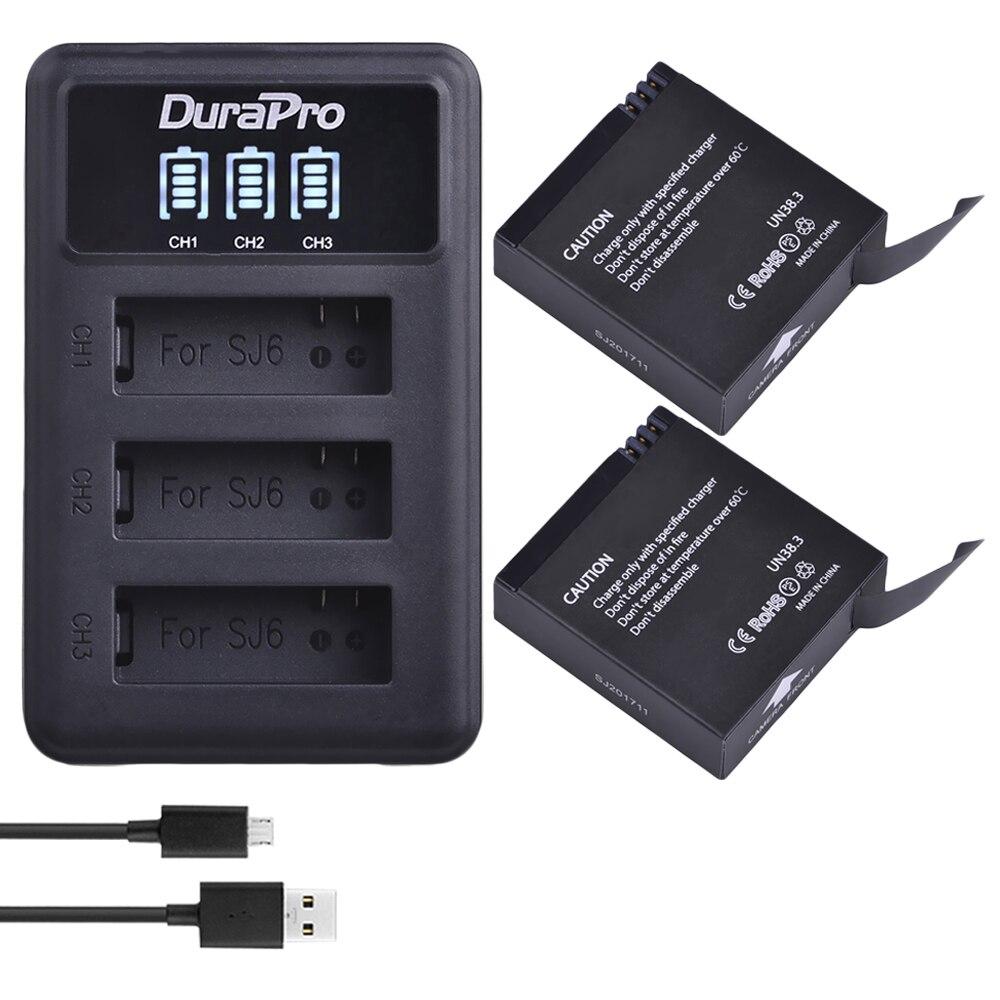 Buy 2Pcs 1000mah Original SJCAM SJ6 LEGEND Battery Accu + LED 3-Slot USB Charger for SJ6 Legend SJ6 Legend Air Sports DV Cameras for only 23.29 USD