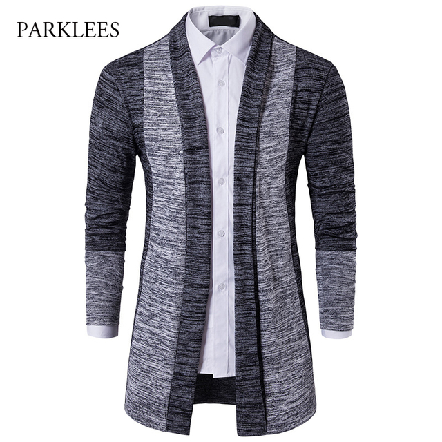 2017 Autumn Mens Knitted Sweaters Hit Color Sweater Men Whithout Button  Long Mens Cardigans Casual Slim