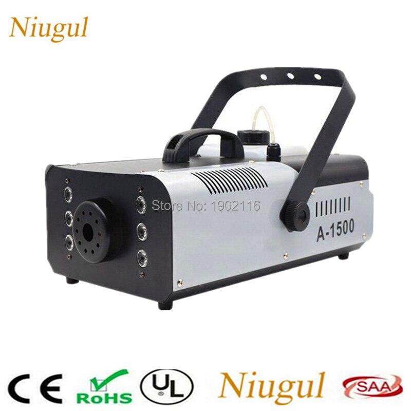 LED 1500W RGB 3in1 Fog Machine Remote and wire control Smoke Machine With 6x3w Light Professional Stage Machine DJ/Home Fogger