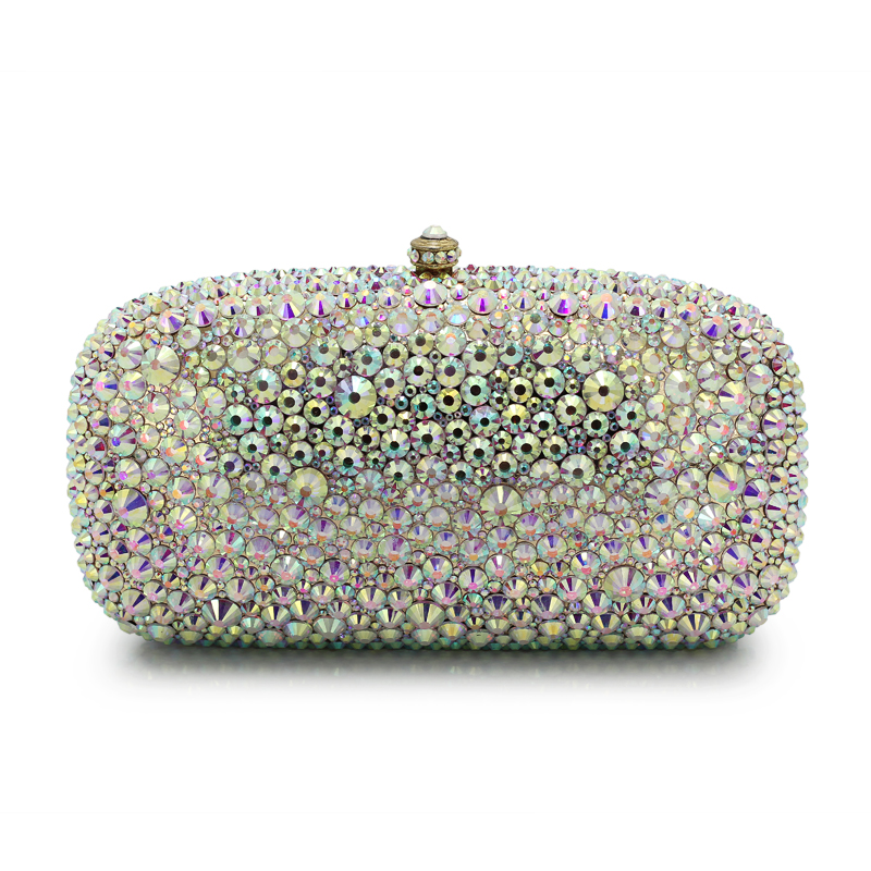 Full Rhinestone Wedding Bridal Evening Clutches crystal luxury box purse Clutch evening bags Clutch bag(B1004-GW) жилет ruxara