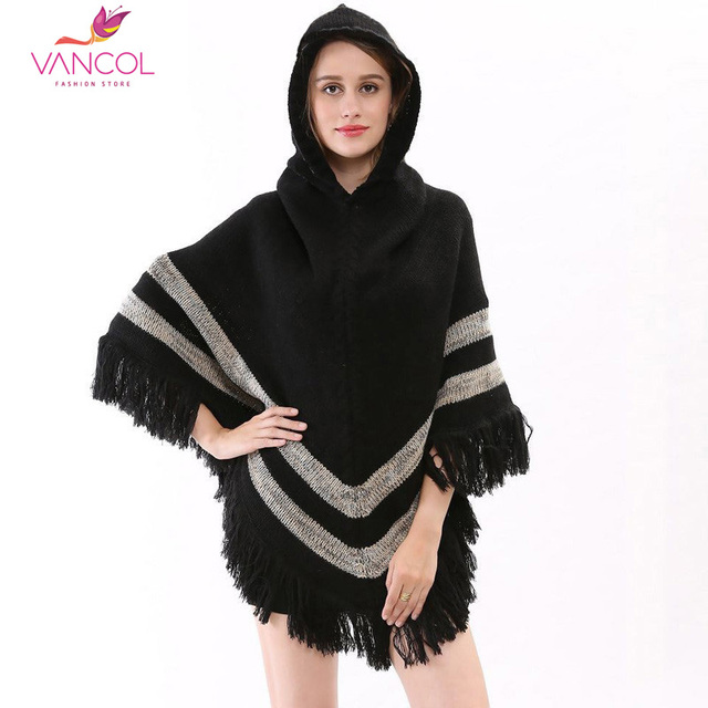 2015 Poncho Women Winter Wool Pashmina with Tassels Hooded Blanket Poncho Beige Black Soft Winter Women Poncho Cape