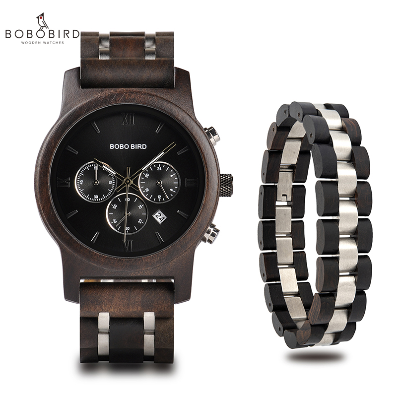 relogio masculino BOBO BIRD Men Watch Bracelet Set Wood Timepiece Chronograph Military Quartz Watch in Wooden
