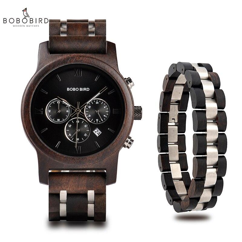Relogio masculino BOBO ptak mężczyźni bransoletka do zegarka zestaw drewna zegarek Chronograph wojskowy zegarek kwarcowy w drewniane pudełko prezenty dla mężczyzn w Zegarki kwarcowe od Zegarki na  Grupa 1
