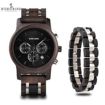 relogio masculino BOBO BIRD Men Watch Bracelet Set Wood Timepiece Chronograph Military Quartz Watch in Wooden Box Men\'s Gifts - DISCOUNT ITEM  45 OFF Watches
