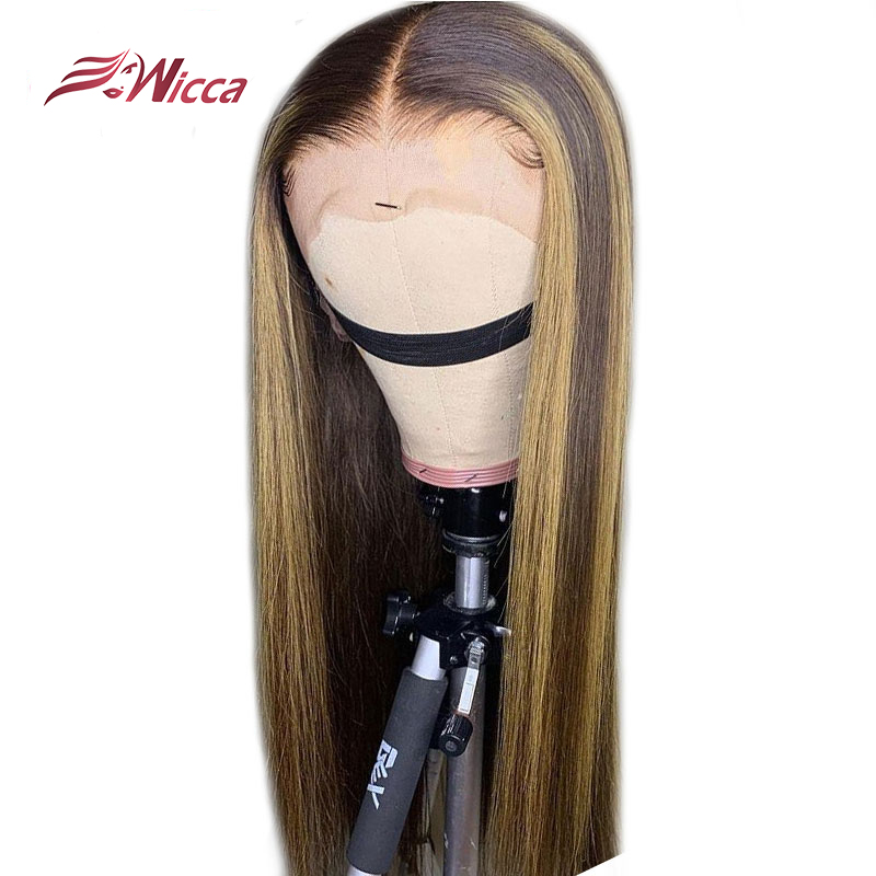 Wicca Highlight Lace Front Human Hair Wigs With Baby Hair 8-24 Inches Brazilian Remy Hair Bleached Knots
