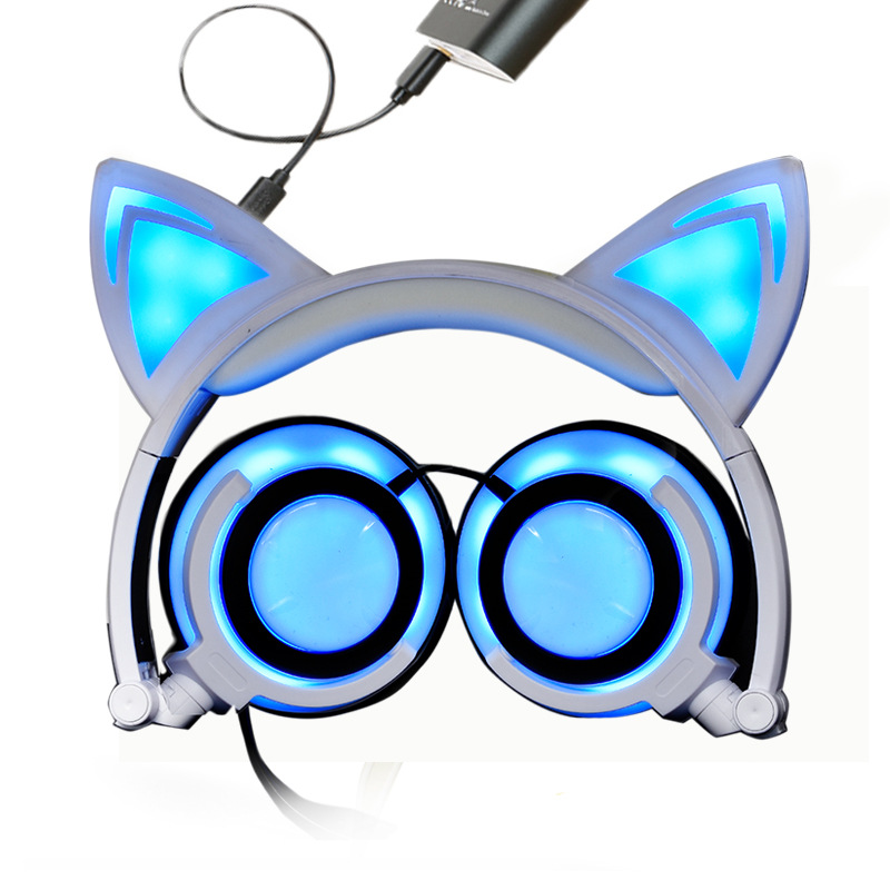 Cat Ear Headphones with LED Light Cute Cat Ear Flashing Glowing Headset for Girls Children Folding Gaming Headset for PC iPhone