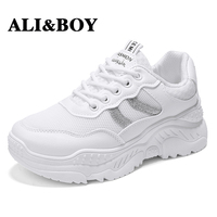ALIBOY White Brand 2018 Breathable Mesh sneakers for women tennis Female Lace Up Soft 7 cm High women sport sneaker Footwears