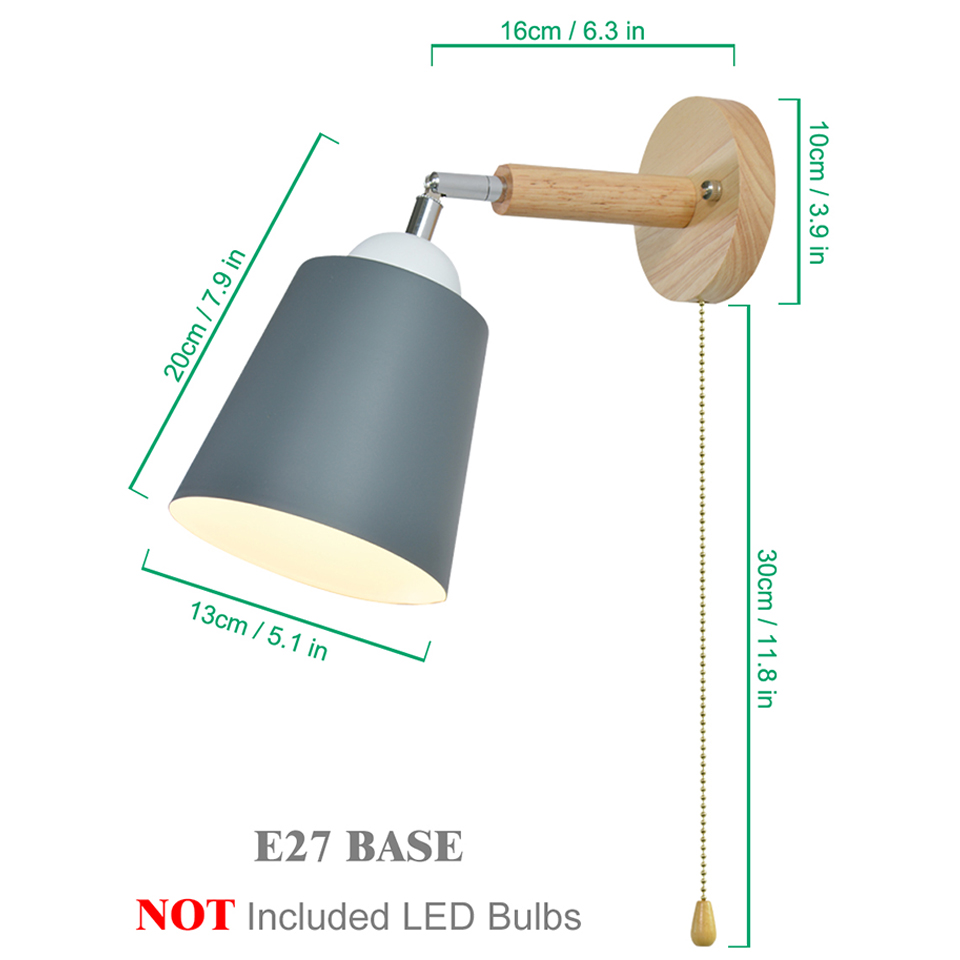 Image 5 - Wooden wall lights bedside wall lamp with switch wall sconce modern wall light for bedroom Nordic macaron steering headLED Indoor Wall Lamps   -