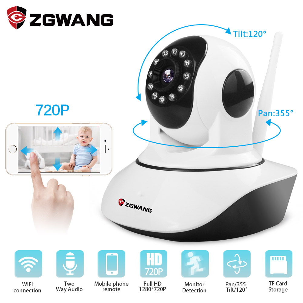 ZGWANG HD 720P Wireless Home Security Wifi IP Camera Network Night Vision Camera Surveillance Alarm CCTV Camera wholesale price